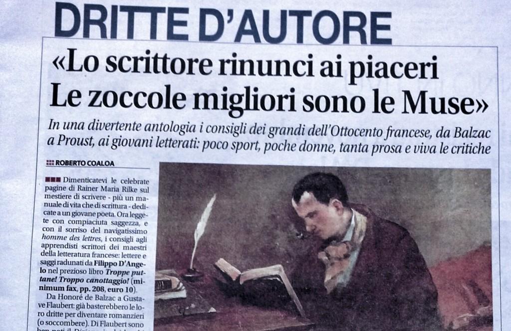 Recensione di Roberto Coaloa sul quotidiano Libero, 30 dicembre 2014, sul volume di Filippo D'Angelo, Troppe puttane! Troppo canottaggio!