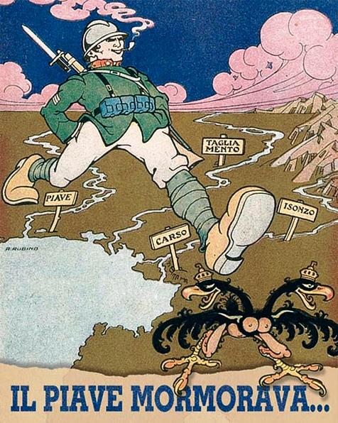 """Una celebre immagine di propaganda del disegnatore Antonio Rubino (1880-1964), dal giornale di trincea """"La tradotta""""."""