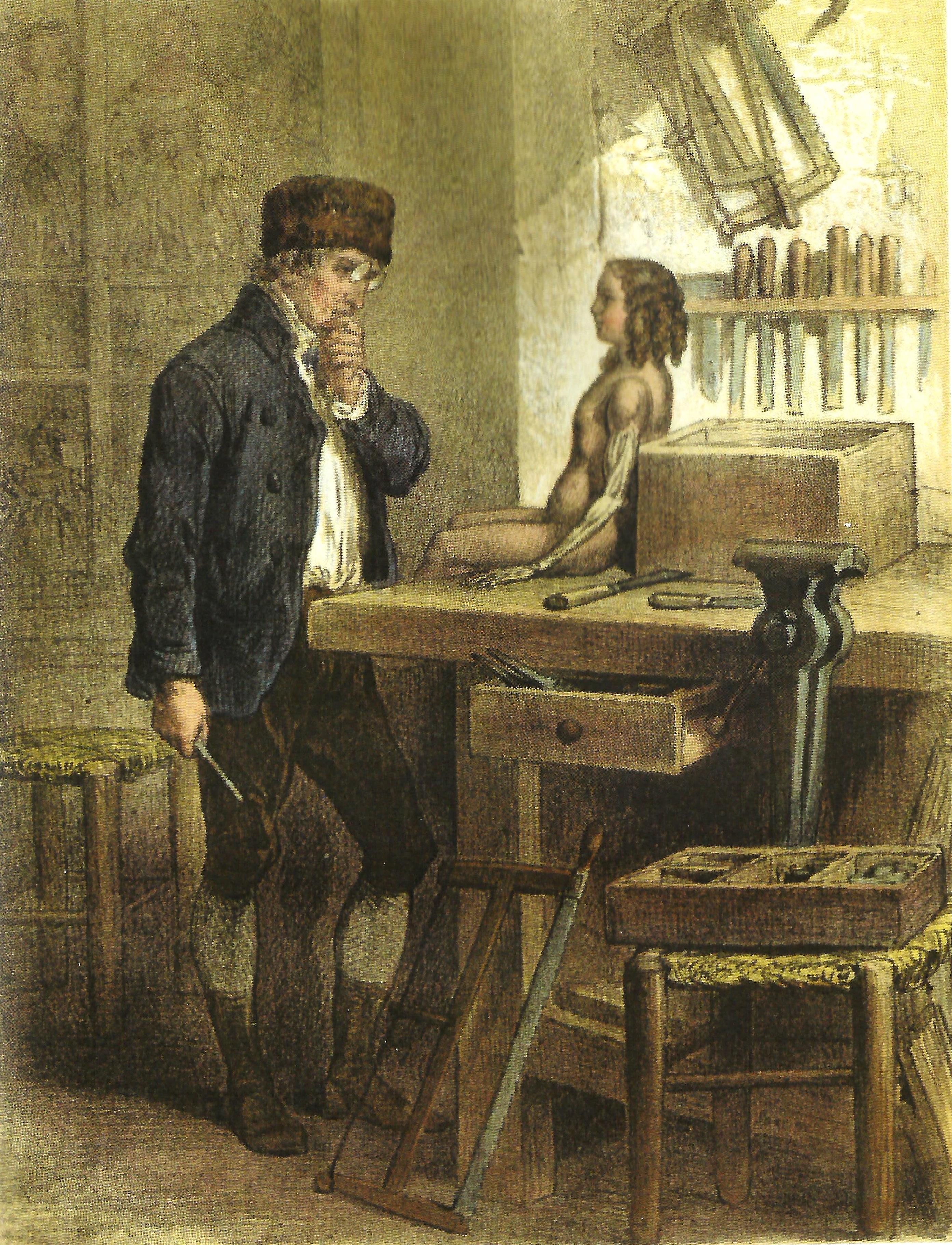 """Una delle tavole dell'edizione originale francese (1862) del romanzo """"La poupée parlante. Histoire extraordinaire et incroyable d'une poupée qui parle, agit, pense, chante et danse"""" del misterioso François Janet, forse un nom de plume."""