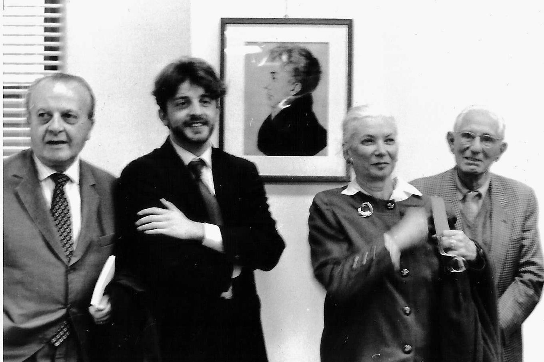 Torino. Biblioteca Nazionale. Mostra su Carlo Vidua. Da sinistra: Silvio Curto, Roberto Coaloa, Anna Maria Roveri Donadoni, Sergio Fabrizio Donadoni.