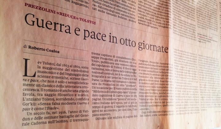 """Roberto Coaloa, """"Domenica"""", Il Sole – 24 Ore, su Giuseppe Prezzolini che """"riduce"""" Tolstoj (Domenica, 3 aprile 2016)."""