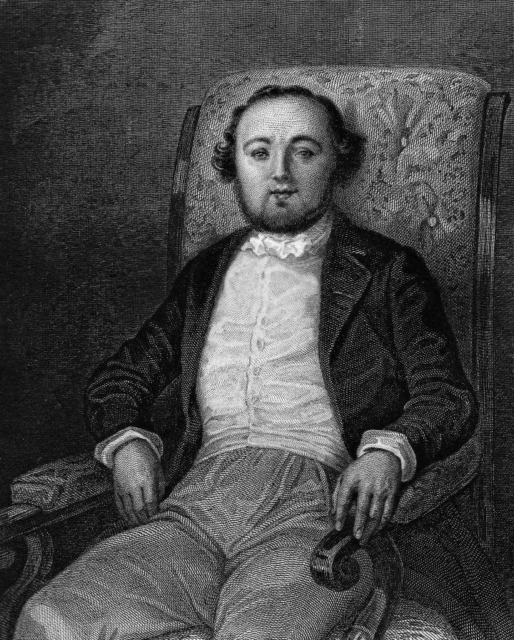 """Jules Janin (1804-1874).  Dall'edizione illustrata di """"L'asino morto"""" (Paris, Ernest Bourdin, 1842). Il ritratto è di Tony Johannot."""