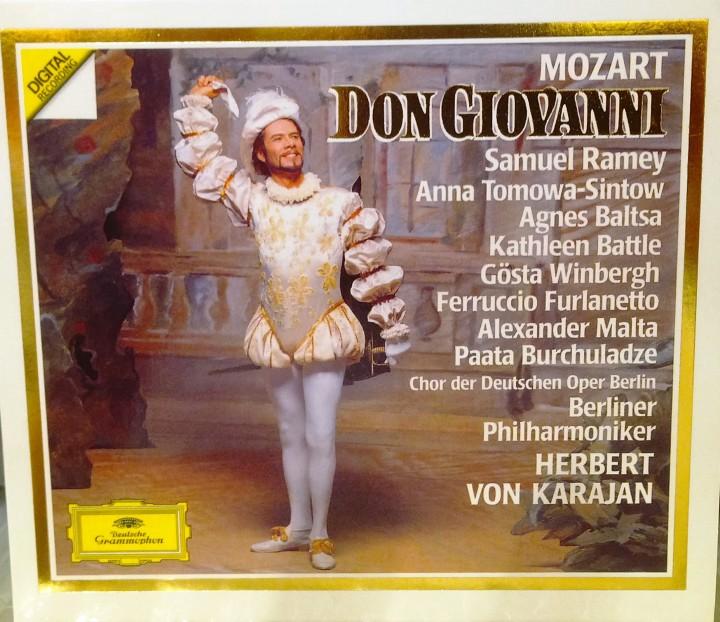 """Il """"Don Giovanni"""" nell'interpretazione di Herbert von Karajan (1986), con Ramey · Tomowa-Sintow · Baltsa Battle · Winbergh · Furlanetto Malta · Burchuladze Chor der Deutschen Oper Berlin Berliner Philharmoniker"""