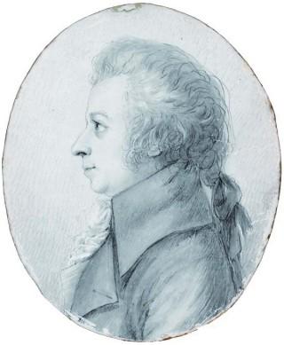 Mozart nel 1789, in un ritratto di Doris Stock (76 x 62 mm).