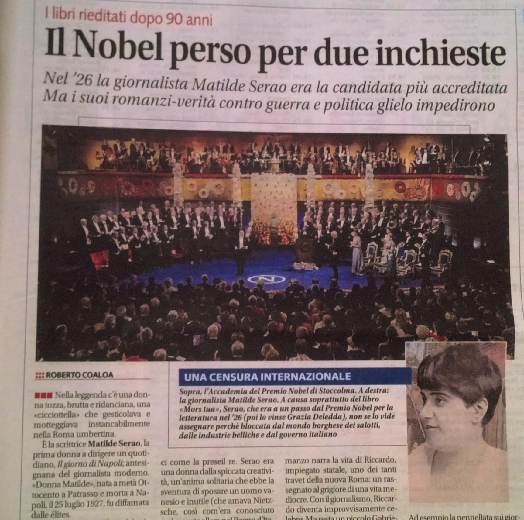 Un pezzo di Roberto Coaloa sul quotidiano Libero, venerdì 12 agosto 2016, tenta di rivalutare Matilde Serao come scrittrice e giornalista.