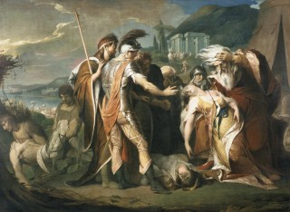 """""""King Lear Weeping over the Dead Body of Cordelia"""", un enorme dipinto eseguito da James Barry tra il 1786-87. Olio su tela per la Boydell Gallery (ora Londra, Tate)."""