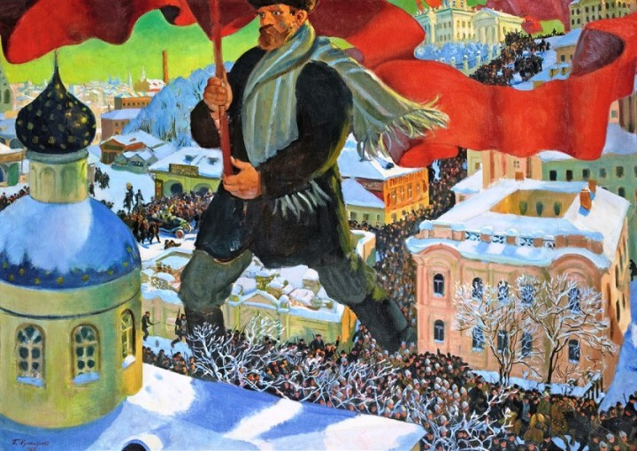 «Il bolscevico» (1920) di Boris Kustodiev. Oil on canvas. 101 x 140.5 cm. State Tretyakov Gallery Photo © State Tretyakov Gallery.