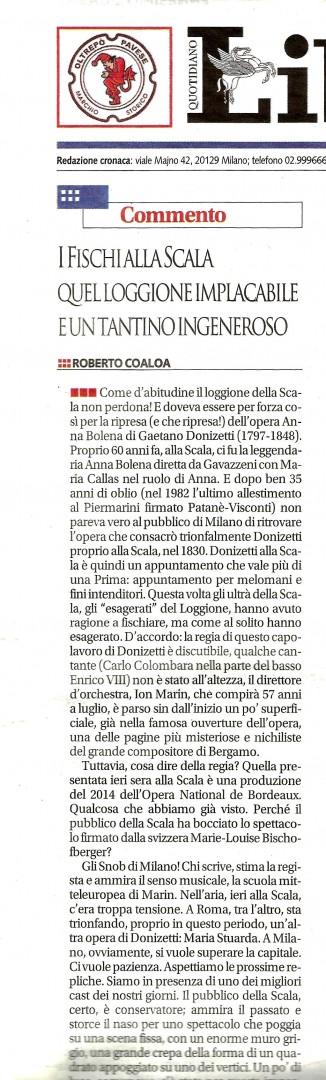 Roberto Coaloa commenta Anna Bolena alla Scala sul quotidiano Libero, domenica 2 aprile 2017.