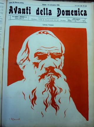 """Giorgio Kienerk, """"Leone Tolstoi"""". Riprodotto in """"Avanti della Domenica"""". 18 settembre 1904 (Milano. Fondazione Feltrinelli)."""