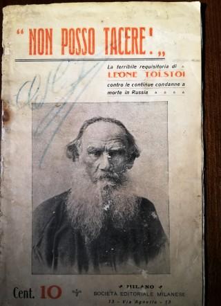 """Leone Tolstoi, """"Non posso tacere"""", Milano, Società editoriale milanese, s.d. (Collezione Roberto Coaloa)."""