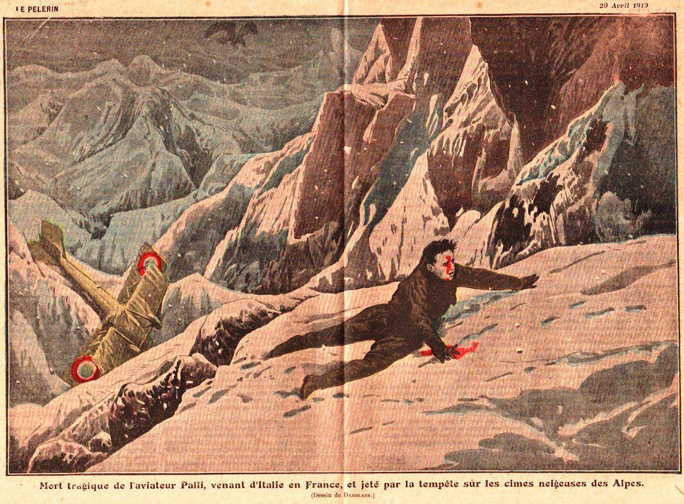 La morte di Natale Palli. Il 20 marzo del 1919, durante il raid Padova-Parigi-Roma per un guasto al velivolo fu costretto ad atterrare sul Mont Pourri, nei pressi di Sainte-Foy, dove morì assiderato tra il 22 e il 23 marzo 1919.