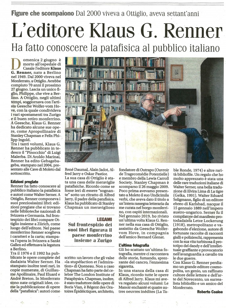 """Prima pagina della cultura del bisettimanale """"Il Monferrato"""", venerdì 7 giugno 2019."""