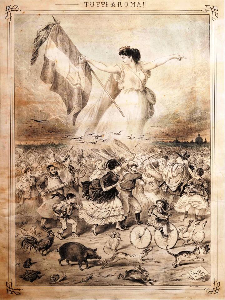 """""""Tutti a Roma"""". Stampa satirica in mostra al Museo Nazionale del Risorgimento di Torino."""